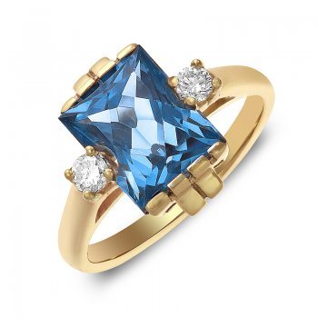 DIAMOND & BLUE TOPAZ RING RIN0068