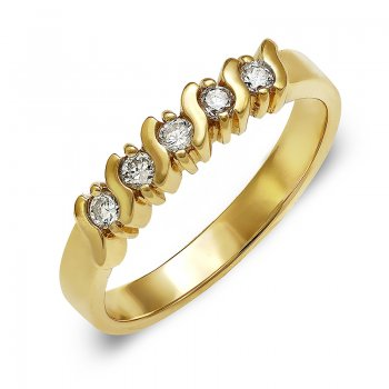 5 CUBIC ZIRCONIA 14K YELLOW GOLD RING RIN0099