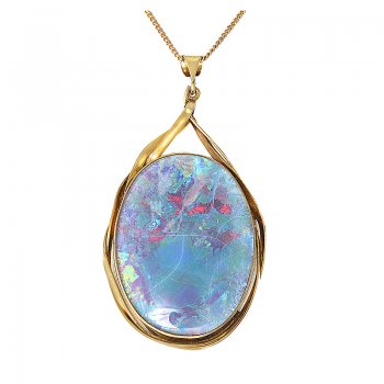 "10K YELLOW GOLD OPAL & 18"" CHAIN SET PEN0010"
