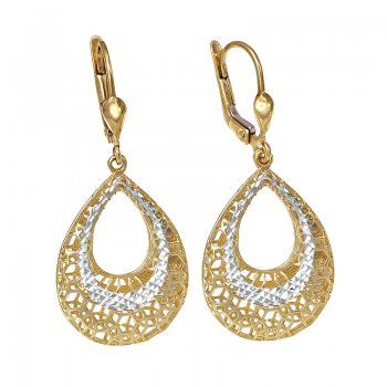 YELLOW & WHITE GOLD OVAL HANGING EARRINGS EAR0028