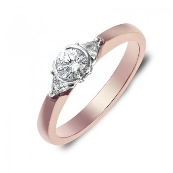 BRILLIANT-CUT DIAMOND ROSE GOLD ENGAGEMENT RING RIN0054