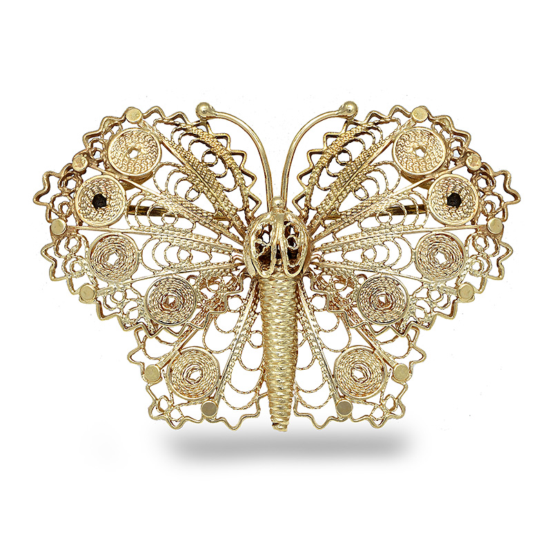 14k YELLOW GOLD BUTTERFLY BROACH BRO0003