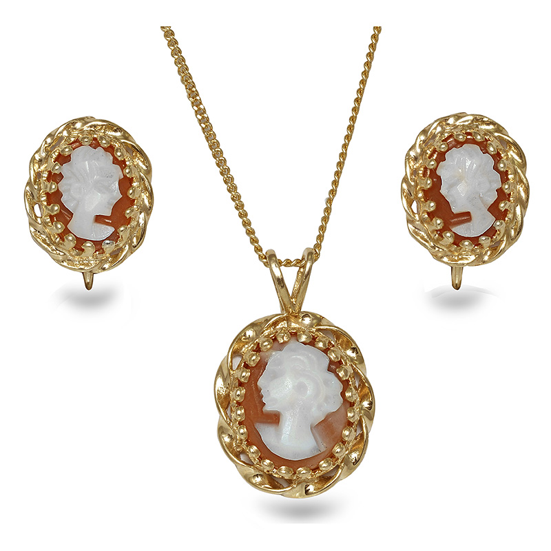 CAMEO EARRING-PENDANT SET WITH SCREWBACKS EPS0002