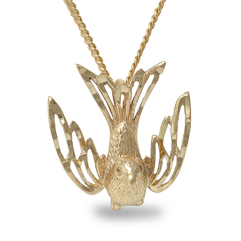 10K YELLOW GOLD BIRD PENDANT & 18