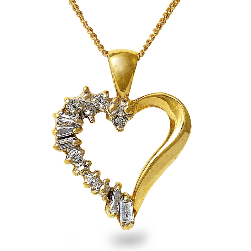 10K YELLOW GOLD DIAMOND HEART PENDANT & 18