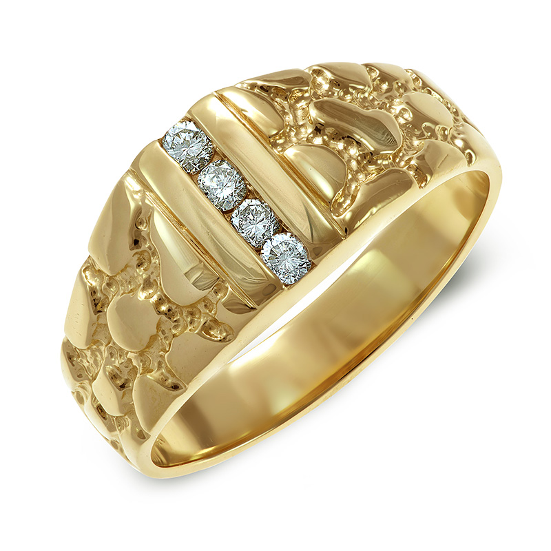NUGGET-STYLE YELLOW GOLD DIAMOND RING RIN0049